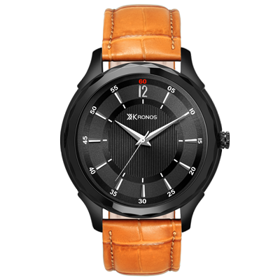 K - 1003 Black Dial Brown Leather Strap