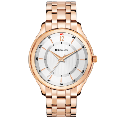 K - 1003 White Dial Gold Metal Strap