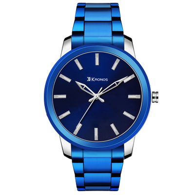 K - 1008 Black Dial Blue Metal Strap